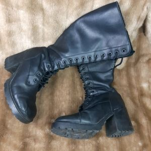 Leather combat boots -heeled - Gothic rock punk